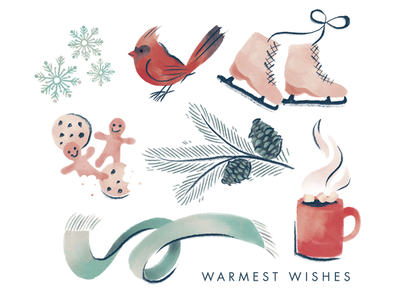 Warmest Wishes illustration ice skate winter christmas painterly card holiday