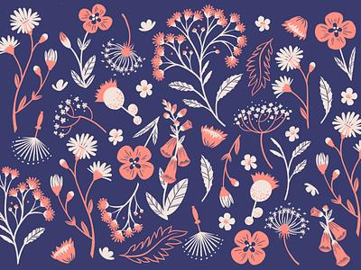 Wild Flowers Pattern blue pink design digital art floral design procreate leaves floral wild flowers pattern art pattern design pattern illustration