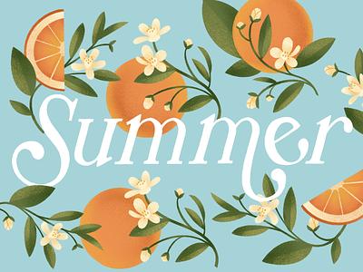 Summer Orange Lettering serif leaves fruit handwritten type floral flower orange summer design type procreate typography lettering illustration