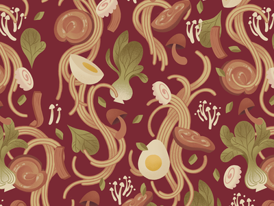 Ramen Pattern noodles japanese repeating seamless surface design pattern soup ramen design illustration