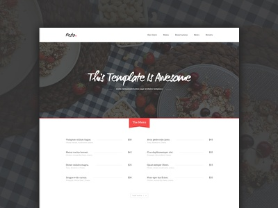 Resto Restaurant Home Page - Freebie freebie rating restaurant free psd red clean food website web design template