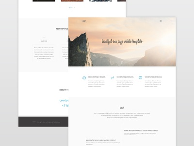 Uno Single Page Website - Freebie freebie free psd one page single page clean minimal blue uno website template