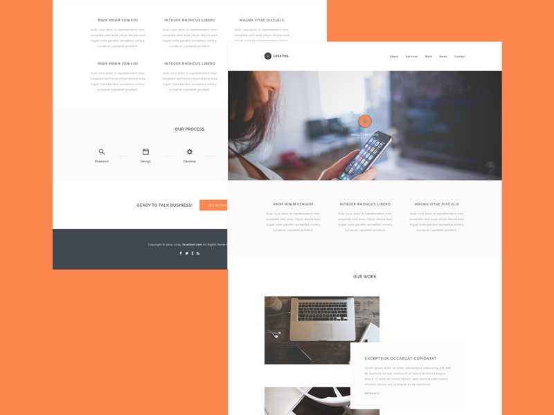 Creativs A Complete HTML5 & PSD Website Template - Freebie website web design free freebie html5 css3 ui orange videos hero