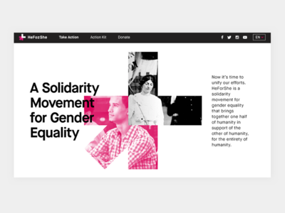 HeForShe monochromatic pink clean branding digital non-profit campaign modern typography layout website