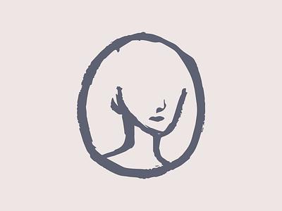 Half Portrait avatar icon drawing brush illustration