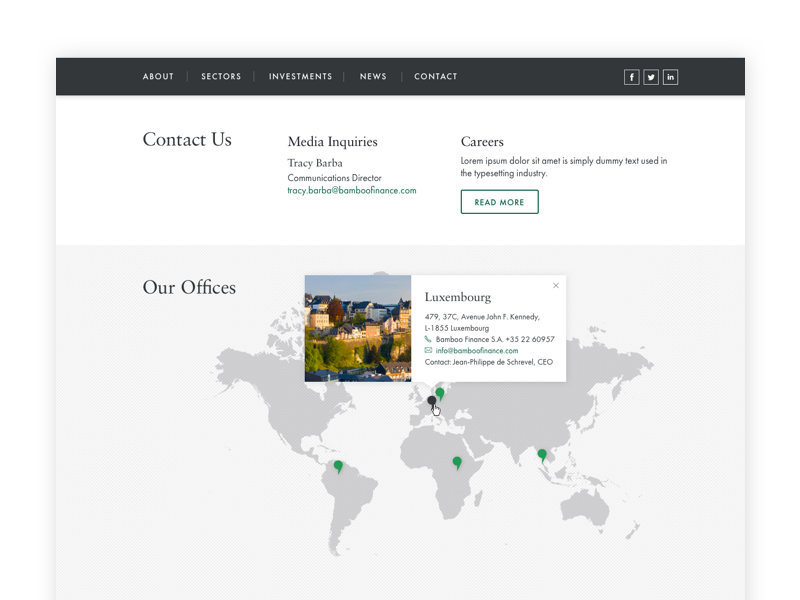 Bamboo Finance: Contact layout contact us map minimal clean web design website