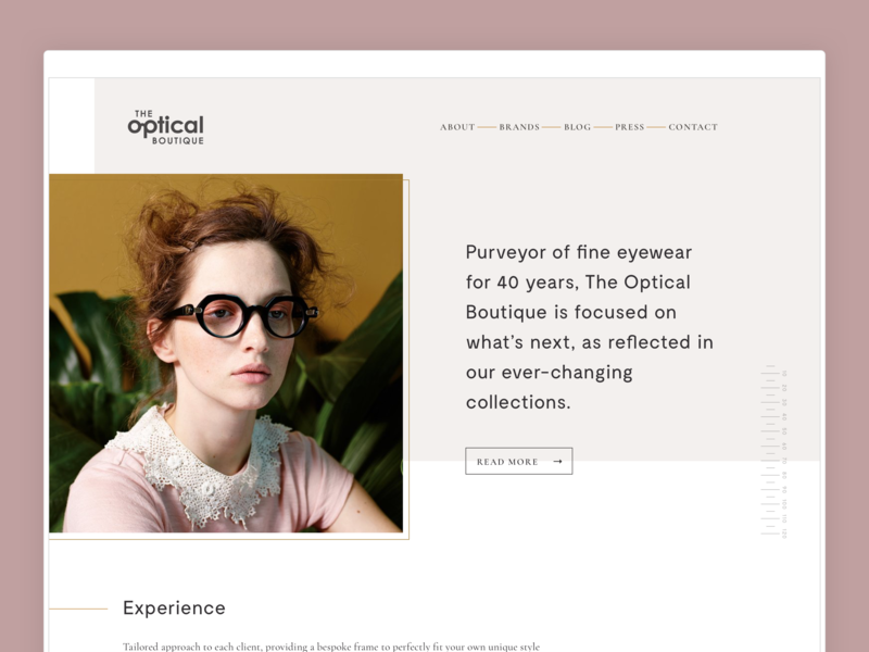 The Optical Boutique ui clean layout web design website typography modern