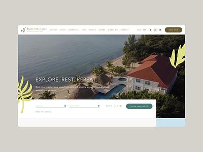 Belize Resort Website Layout clean modern ui website concept hotel web design layout website