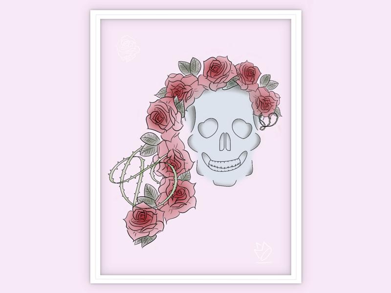 Skull + Rose + Thorns hotel sf procreate digital illustration tattoo thorns vines rose skull