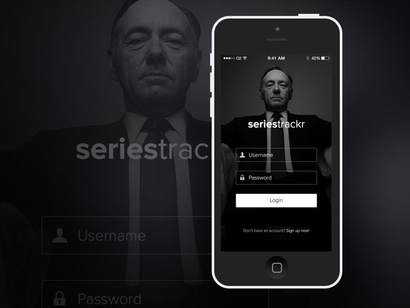 Simple Login Screen ios iphone login tv movie black white elegant clean sketch
