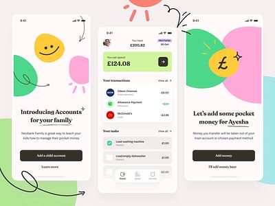 Friendly Pocket Money App mobile family junior kids product design bank fintech finance illustration design interface app visual ui