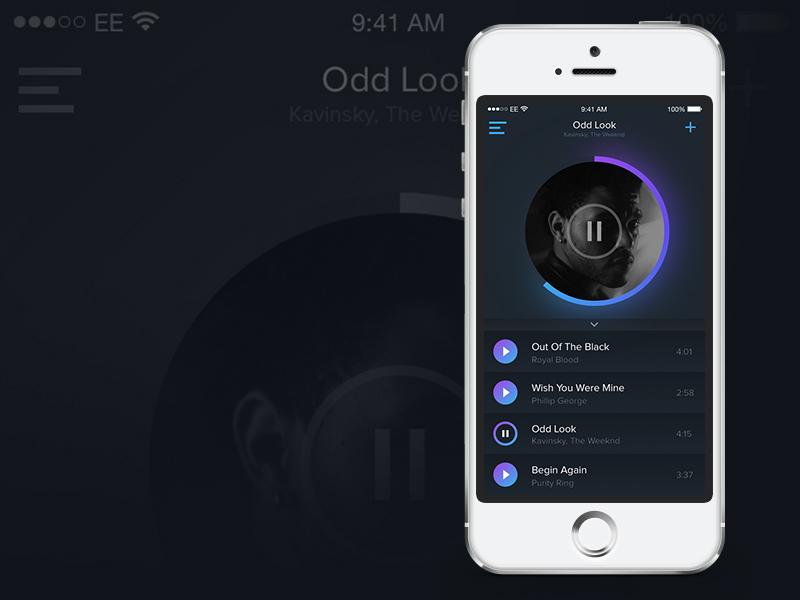 Muusik music ios app ui interaction design purple blue