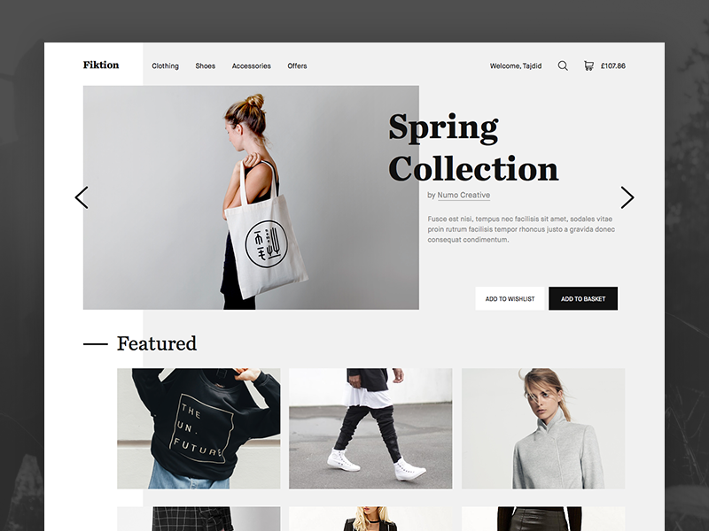 Fiktion - Homepage Design [Work In Progress] minimal clean grid layout store clothing fashion interaction design typography web design web website
