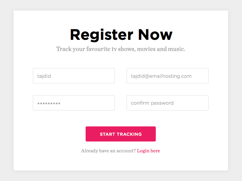 Sign Up - Day #001 001 100day interface visual ux ui form input register sign up dailyui