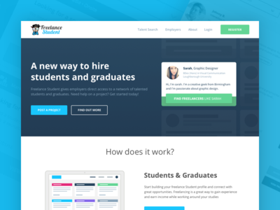 Website Design for a Local Startup ux ui web startup homepage website freelance student education flat clean