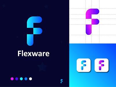 Flexware Logo design. ( modern letter F logo mark ) company logo 3d modern logo modern web network logodesign letter f brand design brand vector illustration design concept logotype app logo logo brand identity branding app