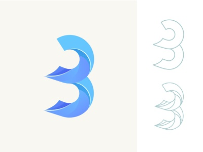 Number- 3 icon concept design logo blue color illustration 2d 3d brand lettering liqued number soft type layer transparant gradient branding 3