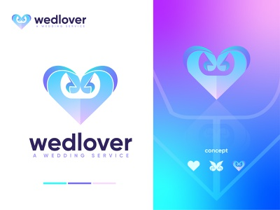 Wedlover logo design brand party fashion makeup weddings weddingphotography weddingdress love weddingday wedding planner icon app logo brand design minimal abstract modern logo illustration logo design branding