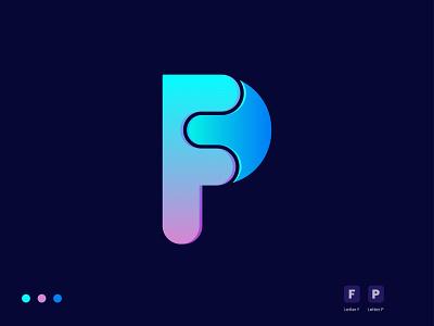 FP Modern Letter Logo Mark. gradient logo letter logo f logo p logo logo and branding 2d 3d colorful graphic design vector icon logotype modern logo illustration design logo branding