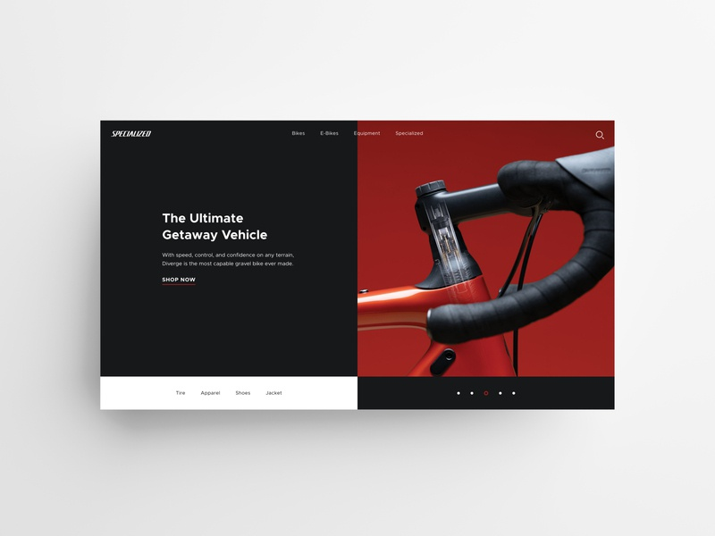 Specialized | Diverge daily ui daily clean design clean ui web webdesign ui white black red bike website ui  ux simple minimal landing page dribbble elegant clear clean