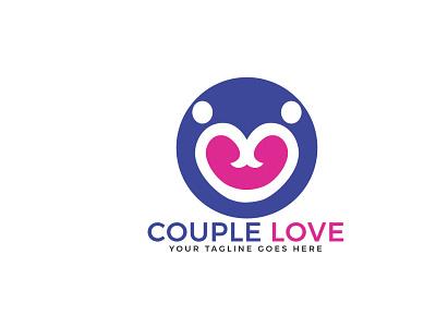 Couple Love Logo valentine lovers creative feeling people community cardiology charity care abstract pair couple heart love app vector logo illustrator illustration design