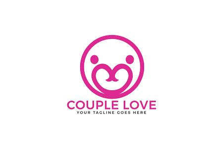 couple love logo pair caregiver feeling cardiology community charity care valentine connect people lovely couple love branding app vector logo illustrator illustration design
