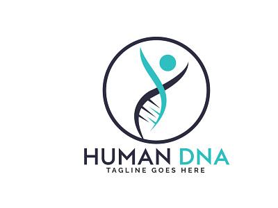 Human DNA and genetic logo design. genesis human body chromosome cell biotechnology genetic gene dna person human people care app branding vector logo illustration design