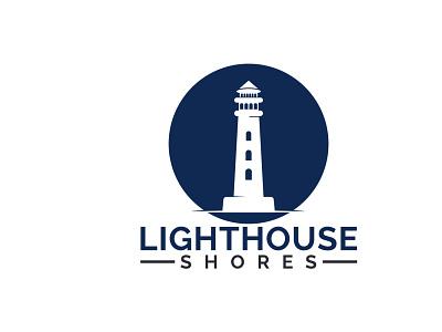 Lighthouse Shores Logo Design. building waves light ocean sea lighthouse logo shores lighthouse business illustration branding vector logo design