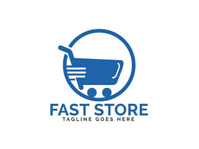 Fast Store Logo Design. grocery app delivery shopping cart shopping app shopping store fast business brand illustrator app illustration branding vector logo design