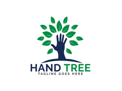 Hand Tree Logo Design. environmental orphanage care charity treehouse plant nature healthcare health leaves tree hand brand illustrator app illustration branding vector logo design