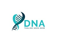Human DNA and genetic logo design.