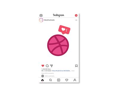 We Love Dribbble! designer vector art vector figma photoshop illustrator design illustration block five blockfive social media instagram like valentines love basketball dribbble
