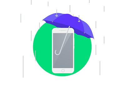 Phone Insurance art figma photoshop vector graphic designer design flat illustrator illustration blockfive block five cover water umbrella rain insurance phone device