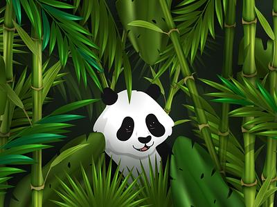 The Panda Life! 🐼 home love designer design photoshop figma illustrator illustration blockfive block five forest happy leafs animal bamboo grass trees jungle panda