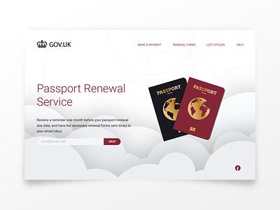 Passport Renewal Service uk designer illustration blockfive design photoshop figma illustrator webpage website landing page clouds government passport