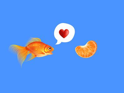 Love ❤️ romance goldfish vector blockfive figma photoshop designer illustrator design illustration water speech bubble love orange fish