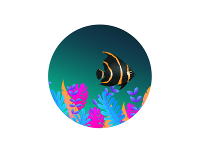 Fish 🐠 colourful art vector designer design illustration photoshop illustrator figma blockfive seaweed weeds flowers ocean sea fish