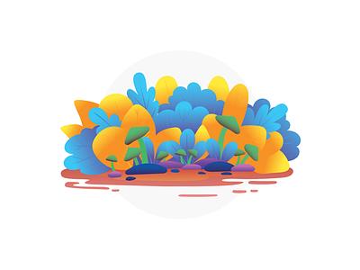 Colourful Bushes vector graphic designer mushrooms colourful colours design figma photoshop illustration illustrator leaf leaves blockfive crops landscape trees bushes plants