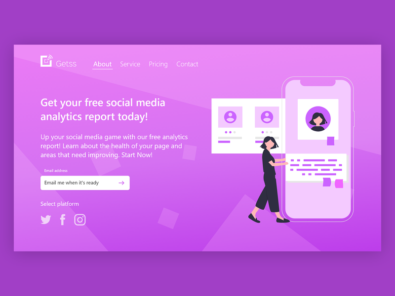 Getss - Social media insights landing page