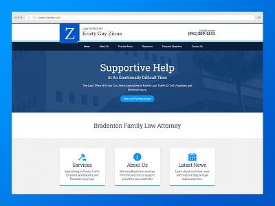 Zinna Law minimal clean while blue wordpress ux design