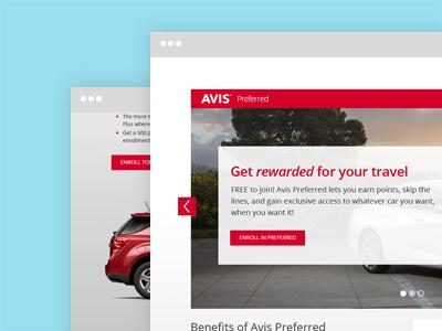 Avis Preferred loyalty program minimal clean while red ux design
