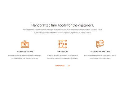 Services Intro for the Homepage wordpress portfolio interface ux ui minimal clean icons orange