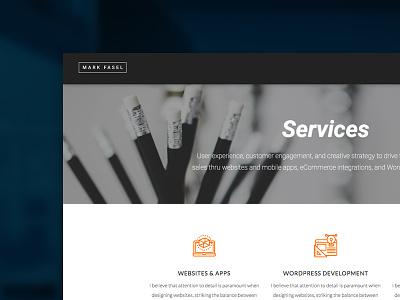 WIP - Redesign of Mark Fasel Design - New Direction dark orange white creative business elegant minimal portfolio ux ui clean user interface