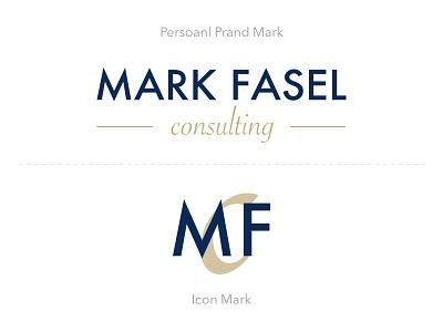 Branding for Mark Fasel Consulting san-serif serif gold blue minimal logo icon branding