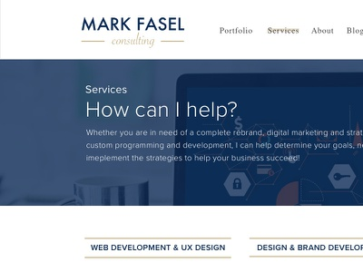 Services - Mark Fasel Consulting gold blue portfolio services minimal white simple