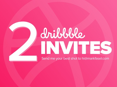 2 Dribbble Invites to Giveaway minimal clean typography pink draft invite dribbble
