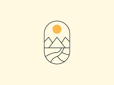 Monoline Sunset simple modern logo design natureal mountain sunsets sunset monoline logo