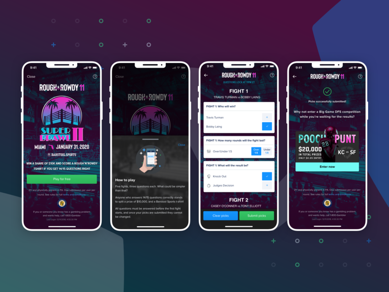FanDuel x Barstool Sports Free to Play Game miami superbowl designs design mobile design mobile ui barstool sportsbook fantasy sports fanduel sketch