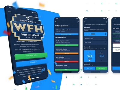 FanDuel Win from Home Free to Play Pick 'Em Game logo ui 3d sketch mobile ui mobile design fantasy sports fanduel designs design