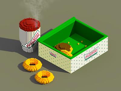 Krispy Lego krispy kreme coffee donuts doughnuts magicavoxel voxel